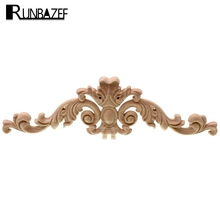 RUNBAZEF Solid Wood Piece Home Decoration Long Applique Wardrobe TV Cabinet Door Woodcarving Flower Fittings Ornaments Figurine