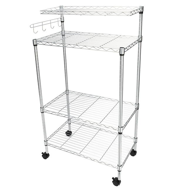 4 Tier Bakers Rack Storage Microwave Oven Stand With Hanging Hooks Chrome Us