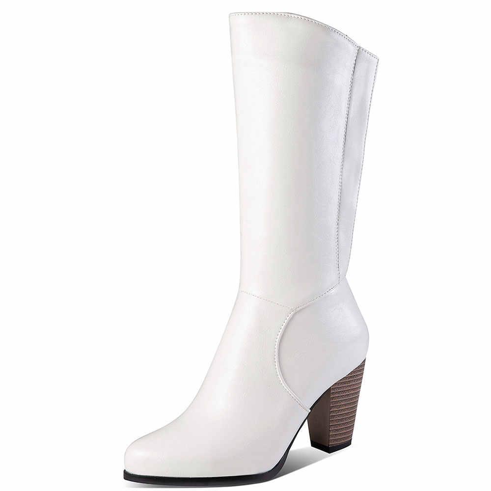 Lasyarrow femmes 2019 grande taille 34-52 russie mi mollet bottes femmes chaussures fourrure haut talon noir blanc chaussures femme bottes femme J976