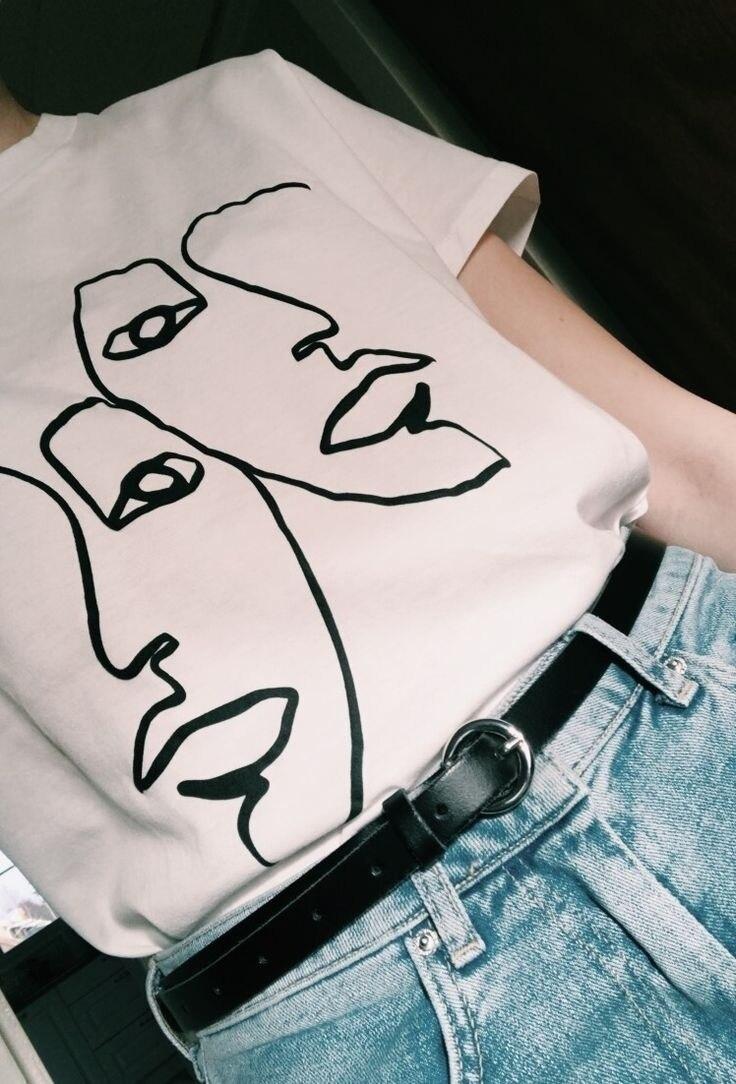 San Francisco venta directa de fábrica gran inventario €10.04 |PUDO XHM 2018 doble línea de arte dibujo mujeres estético blanco  camiseta Tumblr Grunge Hipsters Tee arte camiseta-in Camisetas from Ropa de  ...