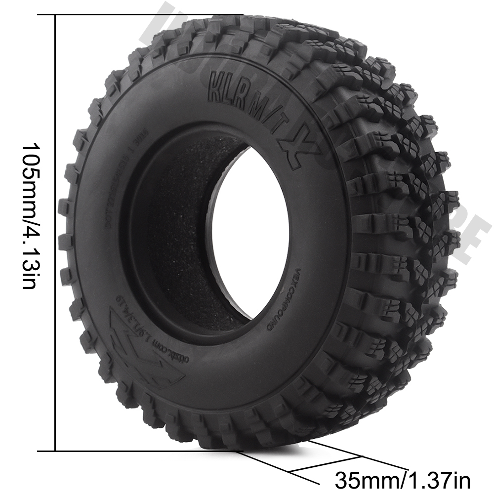 "Image 3 - 4PCS/Set Rubber 1.9"" 105*35mm Wheel Tires for 1/10 RC Crawler Truck Voodoo KLR Axial SCX10 90046 90047 RC Car Tyres-in Parts & Accessories from Toys & Hobbies"