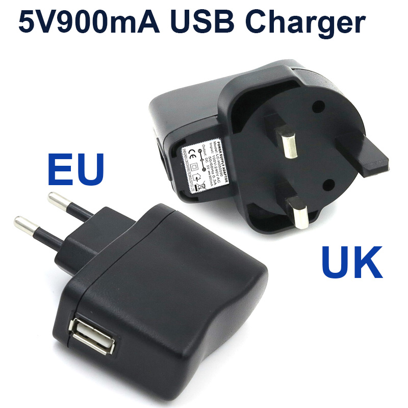 VORED 1PCS New Univesal Power Adapter 5V900mA EU/UK Plug USB Charger Portable Travel Wall Charger Free shipping