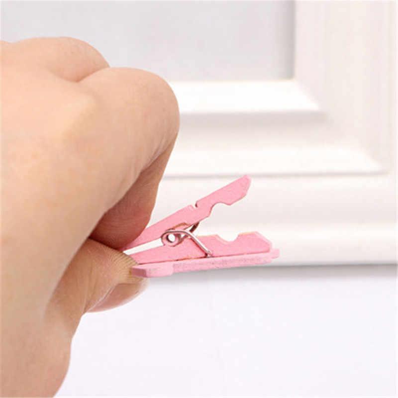 10pcs roupas cor de rosa De Madeira pequeno clipe de fotos clipe menina dos desenhos animados decoração do coração clipe