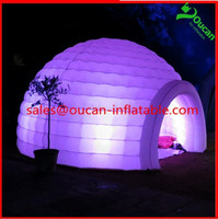 Color changing LED lighted inflatable dome tent igloo tent LED inflatable tent with LED