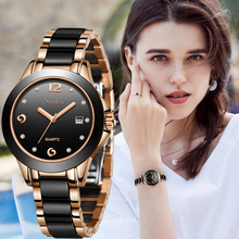 Montre Femme 2019 SUNKTA New Luxury Women Watches Rose gold Ceramic Diamond Ladies Female Watch Gift Quartz Wristwatch Clock