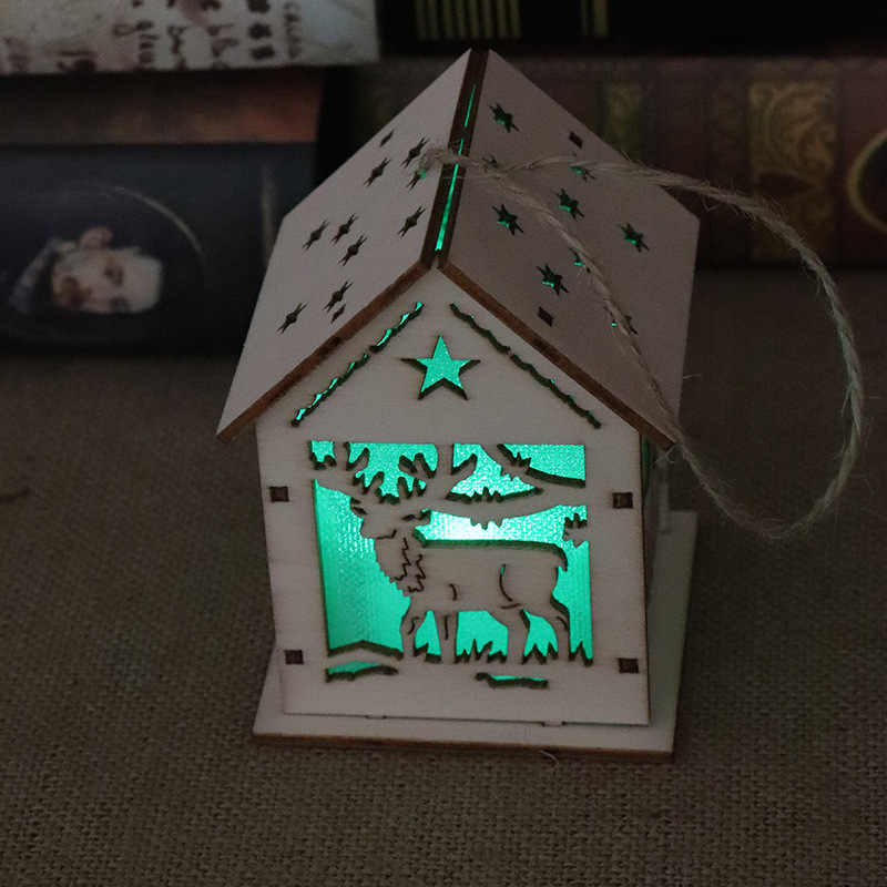 LED Wood Santa Clause House Christmas Tree Ornaments Lamp Cabin Pendant Xmas Gift Decor for Home P7Ding