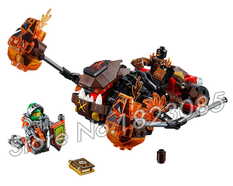 203pcs New Knights Moltors Lava Smasher Mixed Chariot 10481 Model Building Blocks Children Gifts set Nexus Compatible With Lego