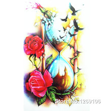 Design Quicksand Bottle And Rose 19x12cm Waterproof Temporary Tattoo Stickers
