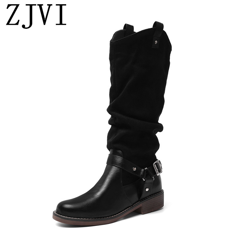ZJVI women square low heels mid calf boots woman fashion buckle winter autumn ladies thigh high girls shoes 2019