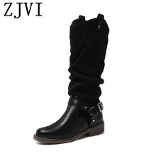 цены ZJVI women square low heels mid calf boots woman fashion buckle winter autumn ladies thigh high boots girls shoes 2019