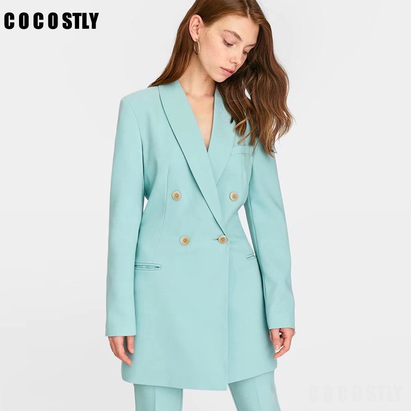 Solid Long Blazers Women Fashion Long Sleeve Suits Women Classical Tailored Collar Jacket Female Office Lady Blazer Feminino