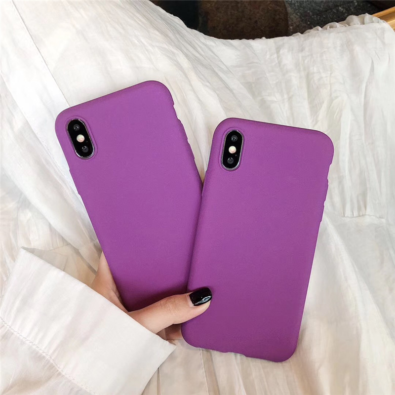 Matte Purple Solid Color Cover Phone Cases For Samsung Galaxy A10 A20 A30 A40 A50 A60 A70 A80 A90 M40 Note 10 Plus Soft TPU Capa image