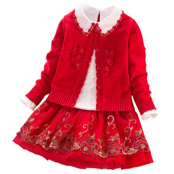 Baby girls Princess suits 2020 autumn winter school kids clothes coat+t shirt+skirts 3pcs Children clothing sets 3 4 6 8 9 years