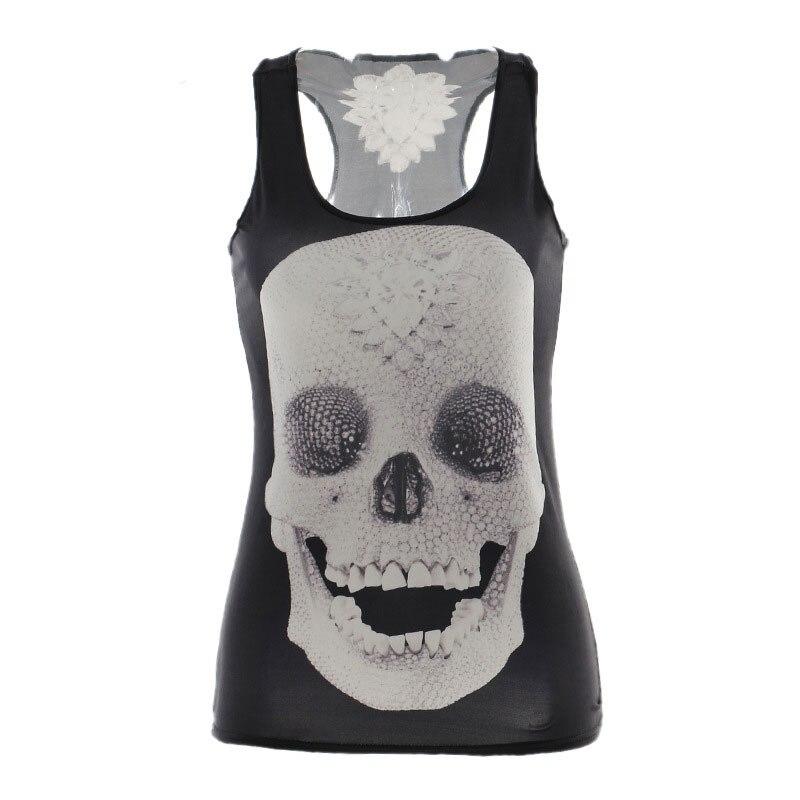 2d990acdf6 Brand Summer New 2015 Women Tops Ribs 3D chaleco Tops negro Ladies Skull  bone Tops mujeres Tank Top sexy ropa de las mujeres