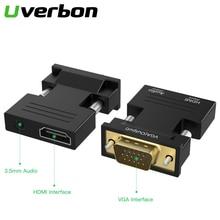 Адаптер 1080P HDMI на VGA, цифровой сигнал для мультимедиа, HDMI 3,5 мм на VGA видеокабель для ПК, ноутбука, ТВ приставки, проектора