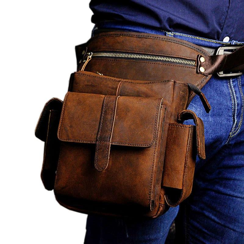 Men's Crazy Horse Cowhide First Layer Drop Leg Bag Fanny Waist Pack Thigh Hip Bum Belt Vintage Cross Body Messenger Shoulder Bag el espiritu de la ciencia ficcion