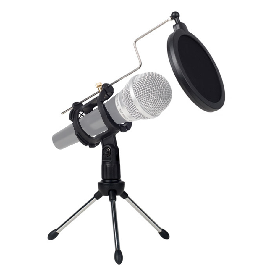 Universal Foldable Adjustable Microphone Stand Desktop Tripod For Computer Video Recording with Mic Windscreen Pop Filter Cover