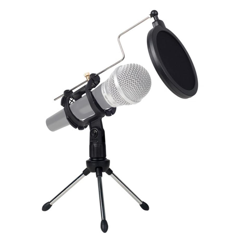 Universal plegable ajustable soporte de micrófono para ordenador grabación de vídeo con Mic parabrisas Pop filtro
