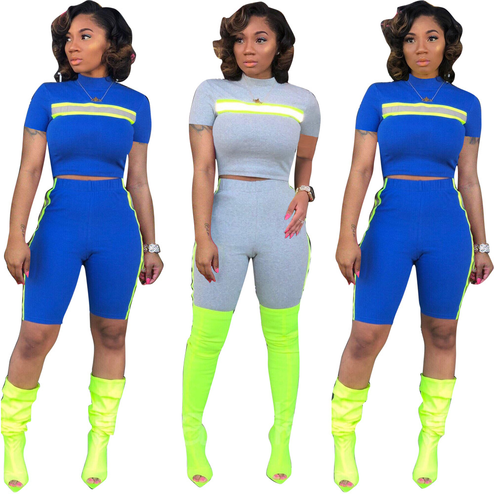 d9b62cd4fc0 Side Stripe Reflective 2 Piece Set Women Tracksuit Women Crop Top and Biker  Shorts Club Outfits Neon Matching Sets 5201