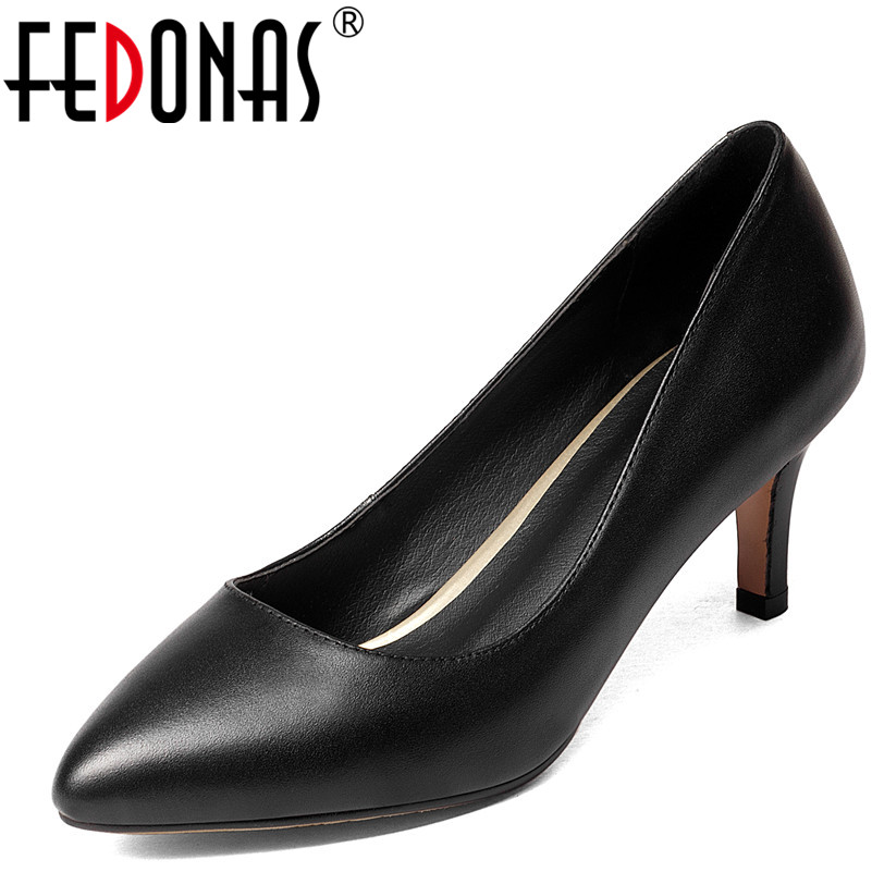 FEDONAS New Women Classic Design Genuine Leather Shoes Black High Heeled Office Pumps Sexy Pointed Toe Four Season Shoes Woman the new puma womens shoes classic high classic star high tongue series white leather laser badminton shoes