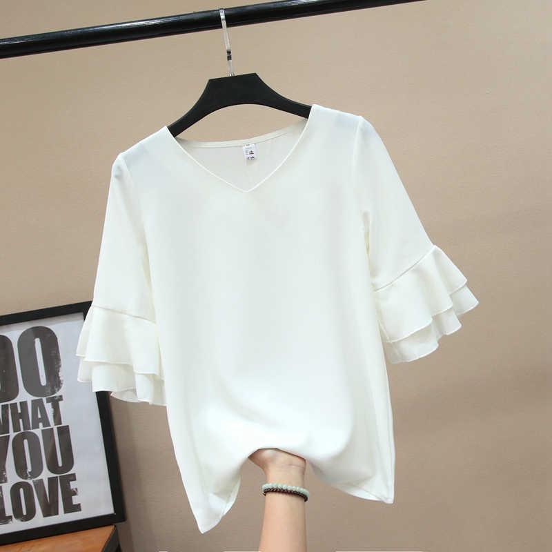 2019 Marca de Moda Borboleta Manga Chiffon Camisa das Mulheres blusa de Verão Com Decote Em V Casual blusa Plus Size 4XL Solto Blusas Femininas