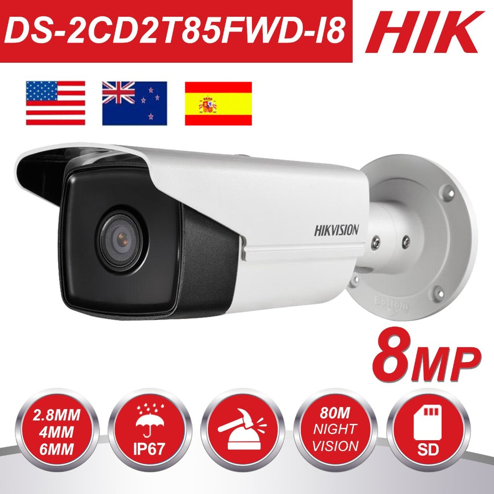 HIKvision 8MP IP Camera 4K Outdoor DS 2CD2T85FWD I8 8Megapixel Network Security Bullet IP Cameras PoE