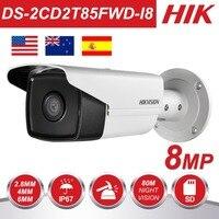 Оригинальный HIK 8MP IP Камера 4 K на открытом воздухе DS 2CD2T85FWD I8 8 мегапиксельная сетевой безопасности Пуля IP Камера s PoE Встроенный слот для SD карт