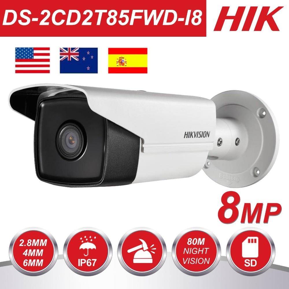 Original HIK 8MP IP Camera 4K Outdoor DS-2CD2T85FWD-I8 8Megapixel Network Security Bullet IP Cameras PoE Built-in SD Card Slot
