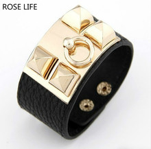 Fashion European and American punk style exaggerated leather Cuff Bracelets  charm temperament Wide Bracelets   Bangles 15eeb7f78d47