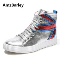 AmzBarley Men Shoes Man Flat Lace Up High Top Hip Hop Red Silvery Leather UK Casual