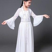 Hanfu Женская сказочная одежда крутая белая светлая Одежда для девочек Одежда для фотосъемки Han Tang одежда для классических танцев