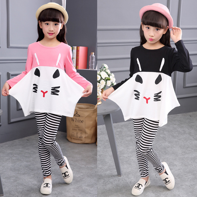 2018 New Girls clothes Sets Pattern Cat Lovely print Children Tracksuit kids clothing suit baby Long sleeve t shirt+pant 2pcs