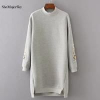 SheMujerSky Sweatshirt Women Long Hoodie Dress Embroidery Floral moleton feminino Pullover Womens 2017 Winter
