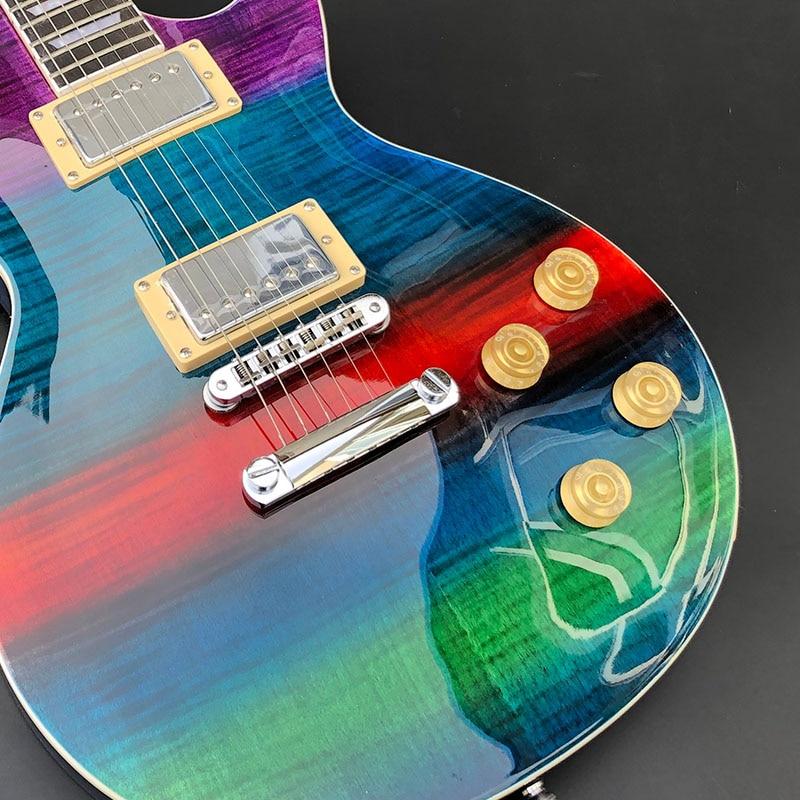 high quality rainbow color electric guitar tiger pattern veneer a piece of wood pinhole bridge. Black Bedroom Furniture Sets. Home Design Ideas