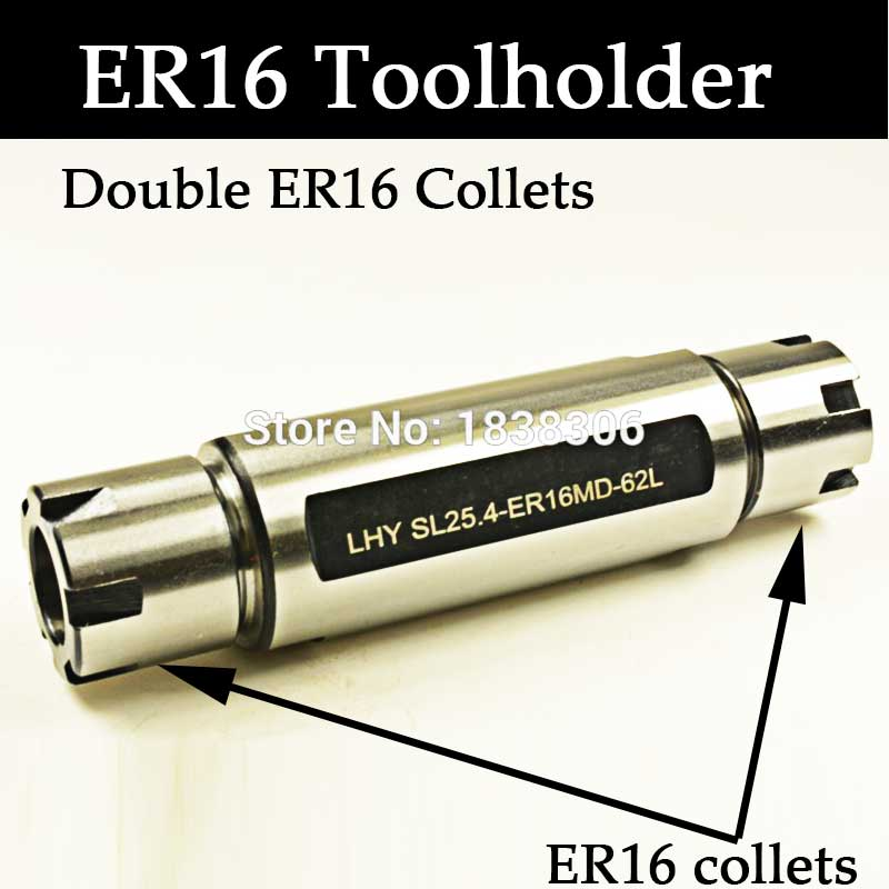 1PCS Straight Shank ER Collet Chuck Machine Tool holder SL25.4 ER16MD 62 Double Ended for automatic lathe