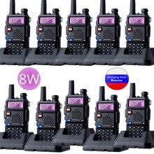10 pçs baofeng UV 5R 8w walkie talkie triplo potência 8/4/1 watts vhf uhf banda dupla uv5r portátil rádio em dois sentidos
