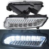 2PCS halogen 12v LED DRL Daytime Running Lights Daylight ABS Fog Lamp Cover Car Styling For Volkswagen V W Polo 2011 2012 2013