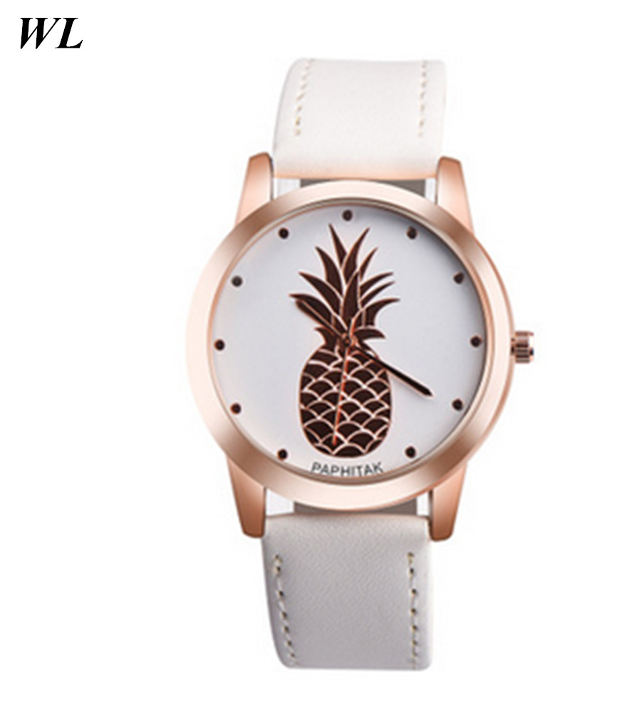 2017 Newest Hot Sales Fashion Gold Shell Women Men Lovers Gifts Watch Pineapple Fruit Quartz Leather Wristwatch In Stock free drop shipping 2017 newest europe hot sales fashion brand gt watch high quality men women gifts silicone sports wristwatch