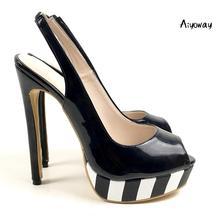 Aiyoway Women Shoes Open Toe High Heel Pumps Slingback Black & White Platform Heels Patent Leather Ladies Party Casual Shoes цена в Москве и Питере