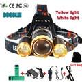 Led headlight  White light  yellow headlamp 10000 lumens 3T6 CREE XML T6 Searchlight lights 18650 battery head flashlight torch