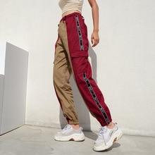 綿パンクロック貨物パンツ 女性ジョガースウェットパンツストリートハイウエスト原宿パンツ女性 Panelled