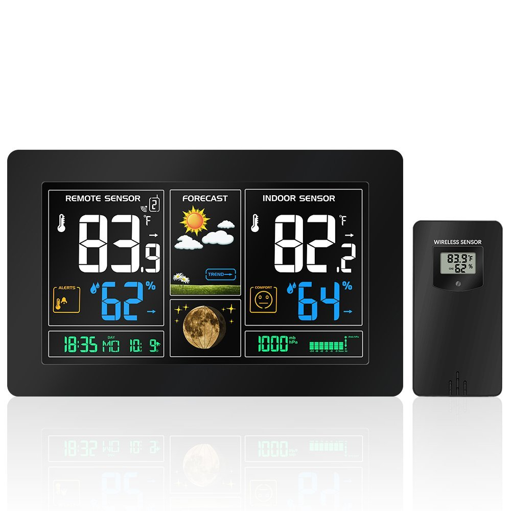 EU Plug Phone Charging Colorful LCD Display Wireless Weather Station With Weather Forecast DCF Radio control Time