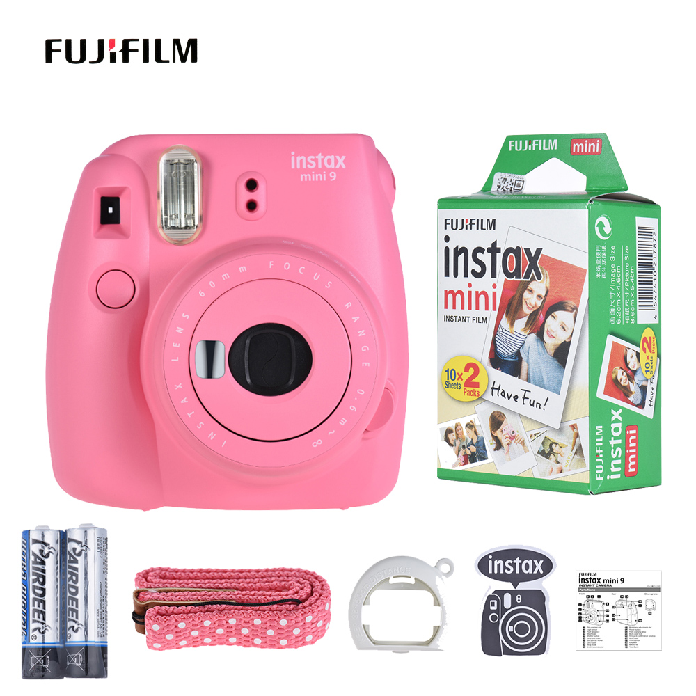 Fujifilm Instax Mini 9 Instant Camera Film With Selfie Mirror 2*Battery With 20 Sheets Film Paper For Fujifilm Instax Mini Film