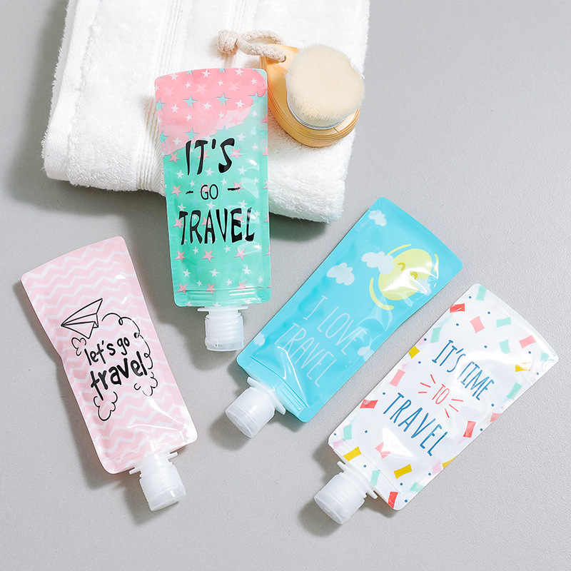 100ml Travel Lotion Bag Folding Shower Facial Cleanser Liquid Emulsion Storage Bag Plastic Makeup Organizer Container