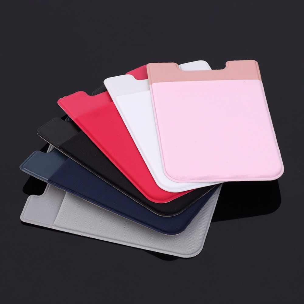 6 Warna Perekat Stiker Ponsel Kembali Kartu Dompet Casing Kredit ID Card Pemegang Ponsel Pemegang Kartu Saku 5.8X8.8 Cm