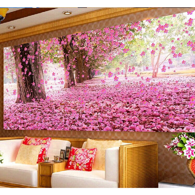 Nagy méretű romantikus sakura tájképi mozaik gyémánt festés - Művészet, kézművesség és varrás