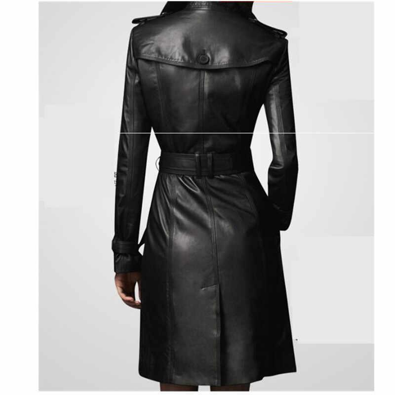 ダブルブレスト女性のフェイクレザージャケット秋冬スリム女性ロングウインドブレーカーコート大サイズ黒の Pu レザージャケット 4XL