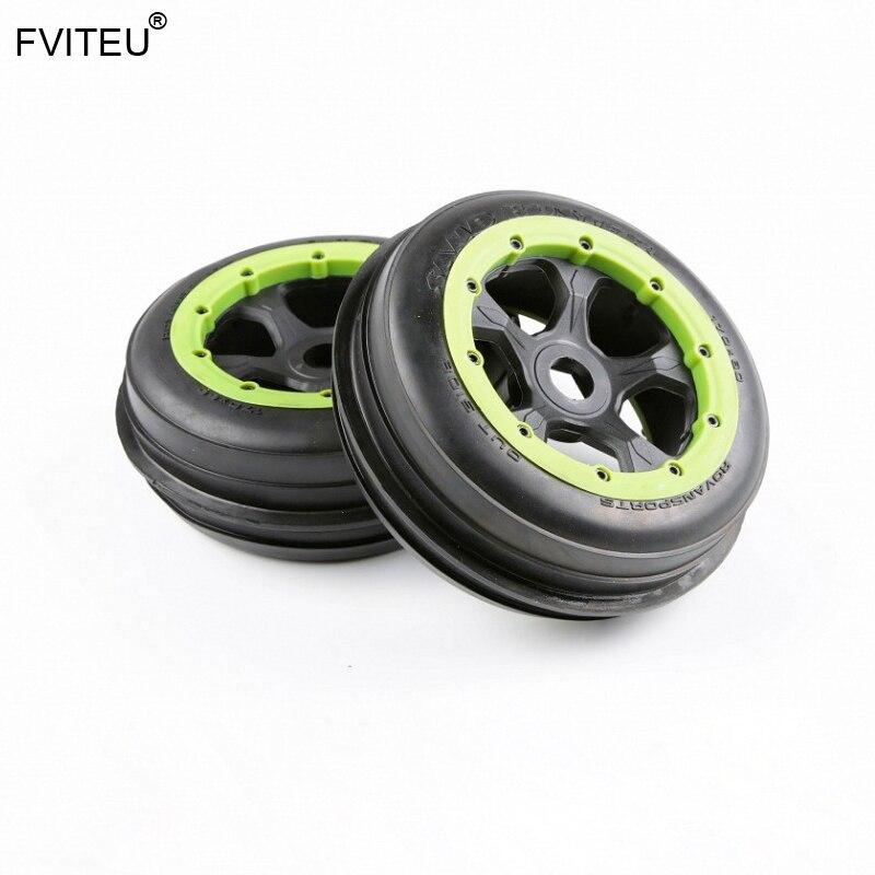 FVITEU ensemble complet de pneus de roue avant en caoutchouc pour 1/5 HPI Baja 5B Rovan King Motor