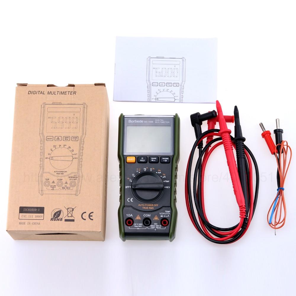 Borbede 168B Digital Multimeter 6000 count DC AC Voltage Current Capacitance Resistance Temperature NCV True RMS Mini Tester in Multimeters from Tools