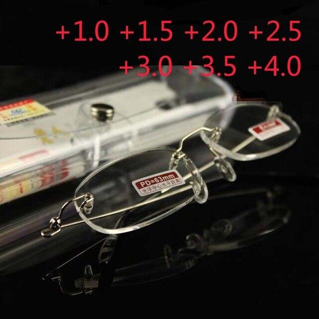 badb97c987c30 Óculos Para Presbiopia Óculos de Leitura Sem Aro de Titânio Quadros das  mulheres dos homens de
